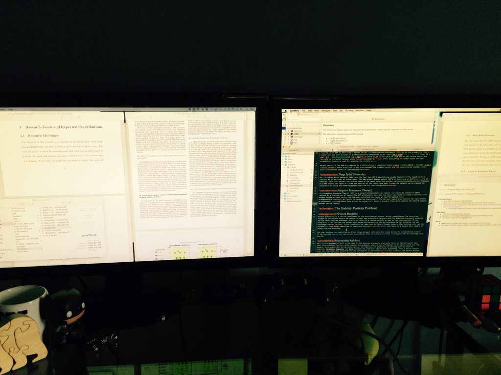 Two Monitors full of windows with research.