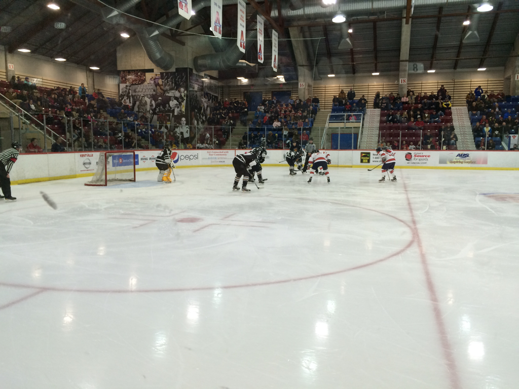Offensive zone faceoff for Acadia Powerplay