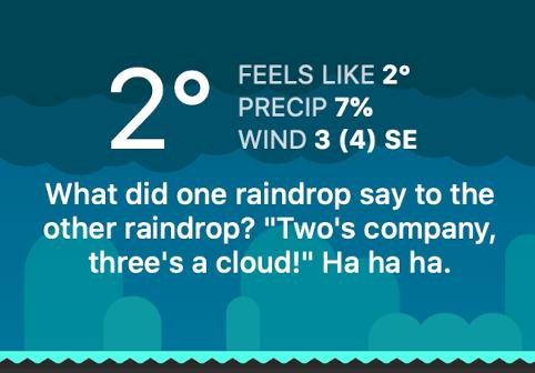 CARROT Weather telling a joke