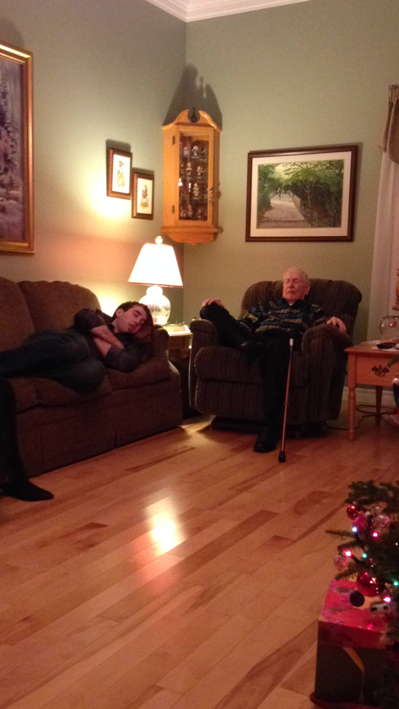 my Grandfather and I asleep next to each other