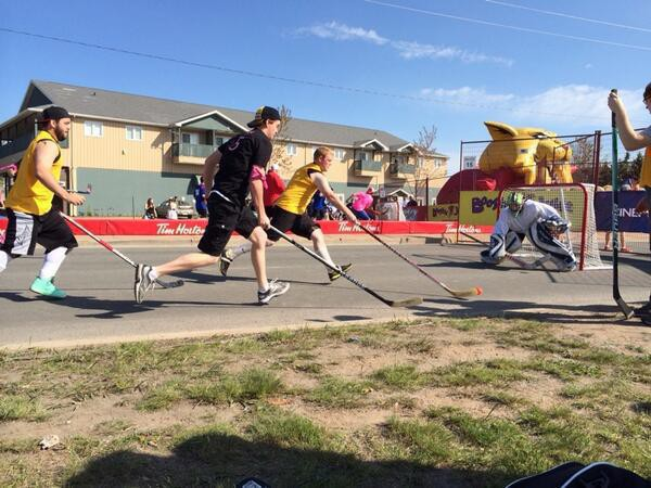 Street hockey action in Moncton