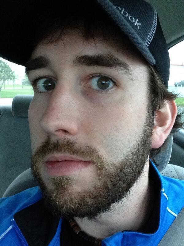 closeup of my playoff beard in a car