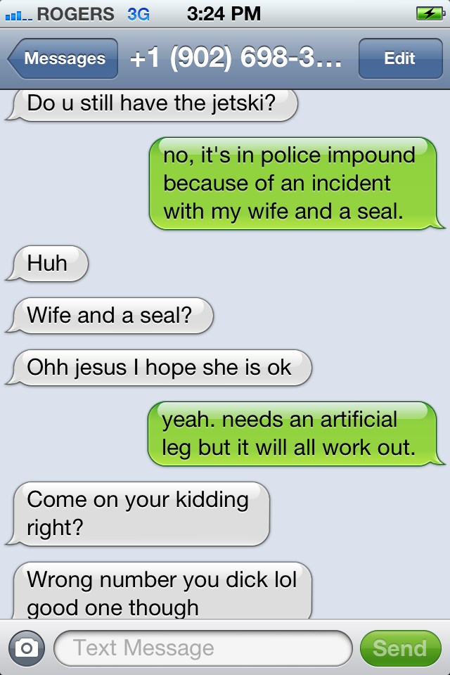 Text message exchange about a mythical jetski