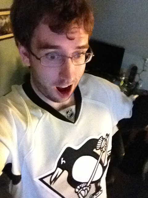 Me wearing a Penguins Jersey