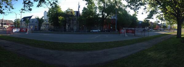 Empty street hockey rink