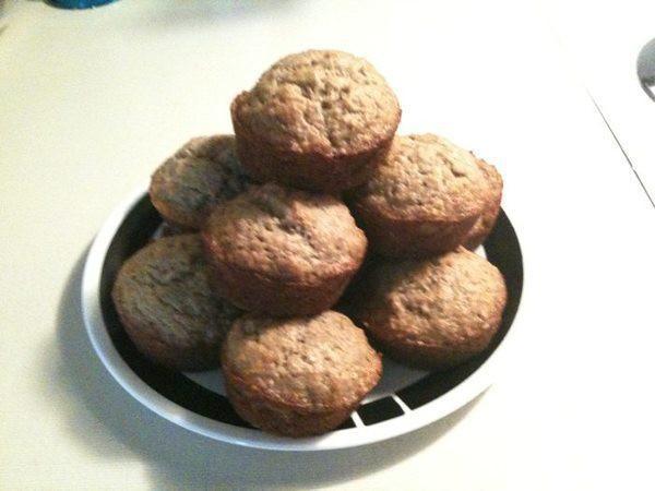 Stack of fresh baked banana muffins