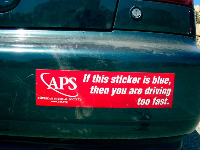 Red sticker with 'If this sticker is blue then you are driving too fast.' printed on it.