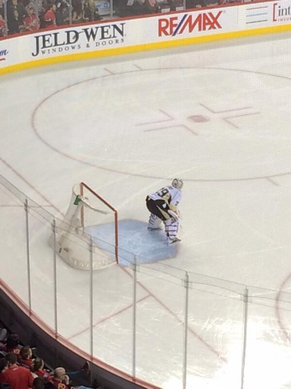 Marc Andre Fleury waiting for the first shot