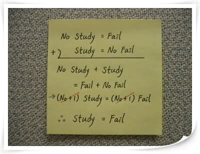 Algebra showing that studying is failure