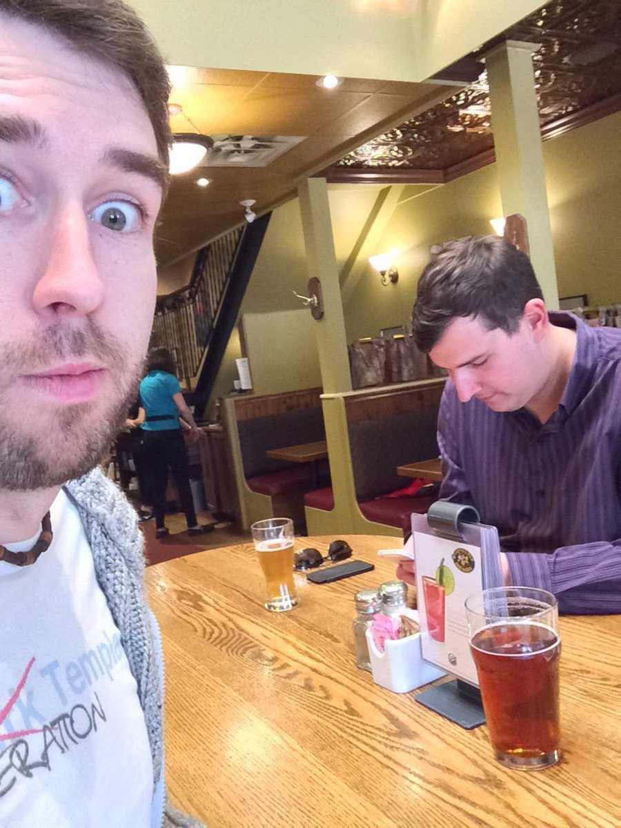 James sneakily taking a photo of Grant in Paddy's Pub