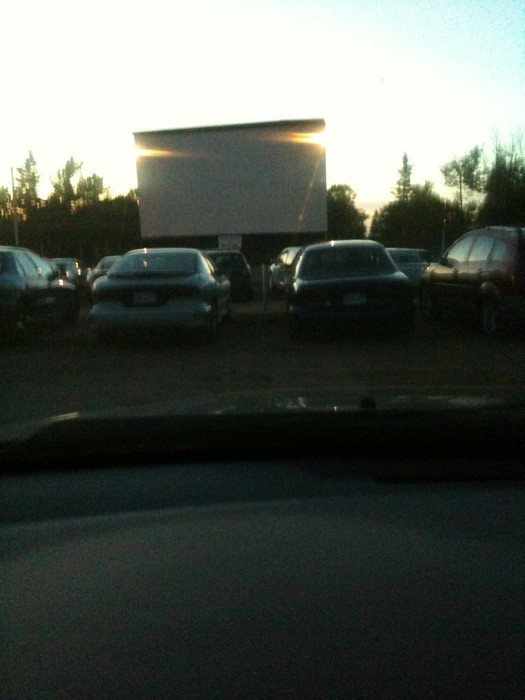 Drive in theatre just before sunset
