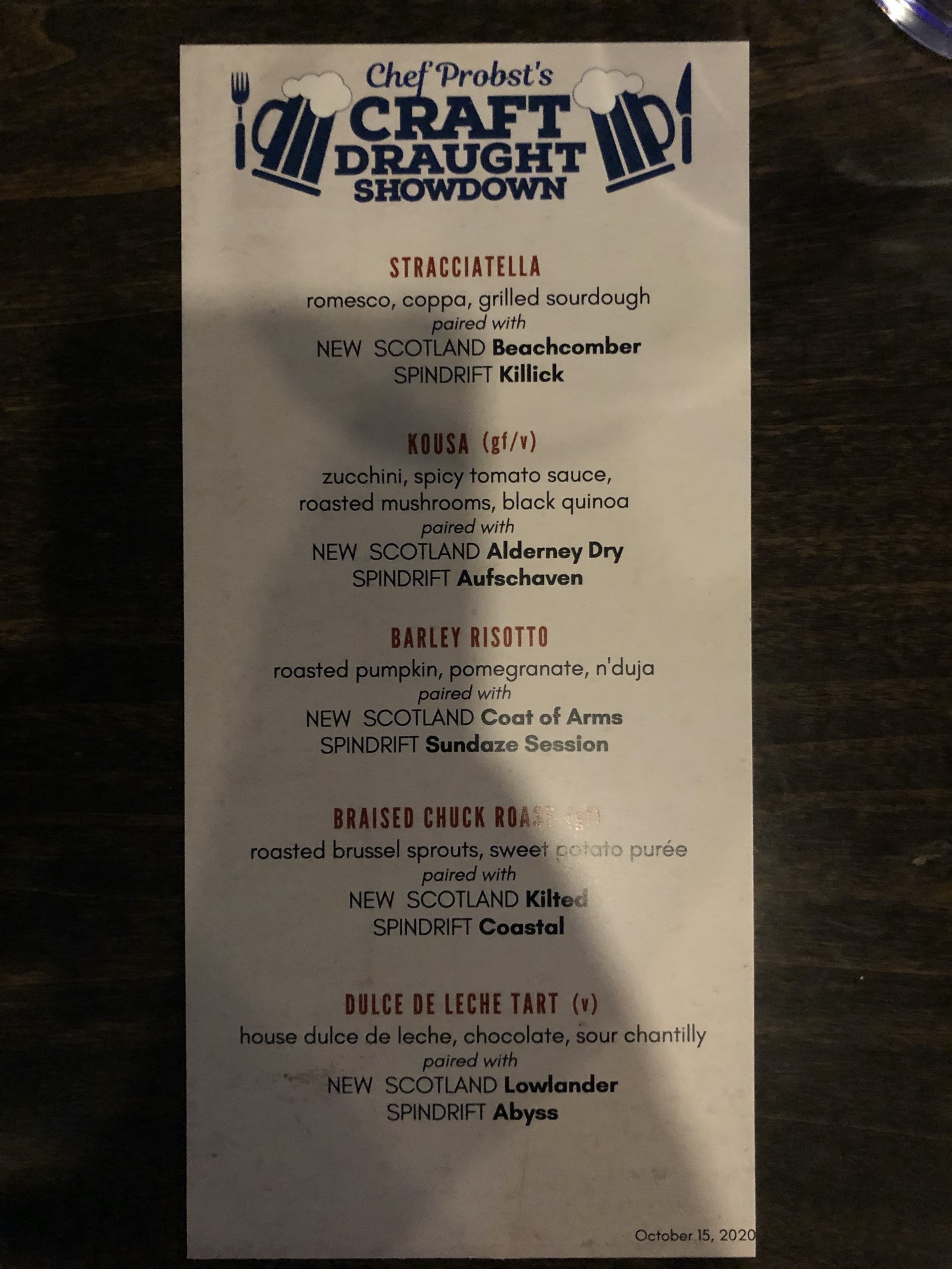 Menu for the 5 course meal including the beer pairings