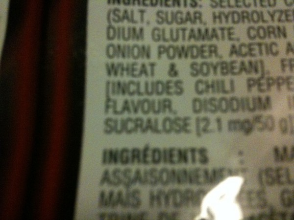 the list of ingredients for some food