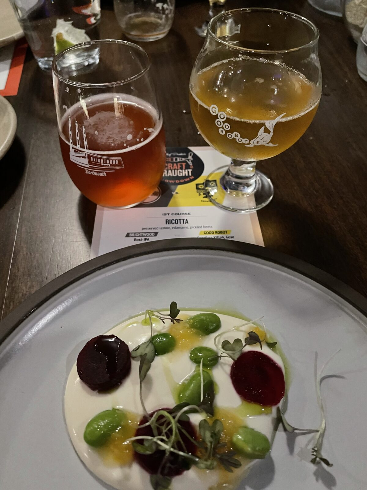 Round 1 beers and ricotta