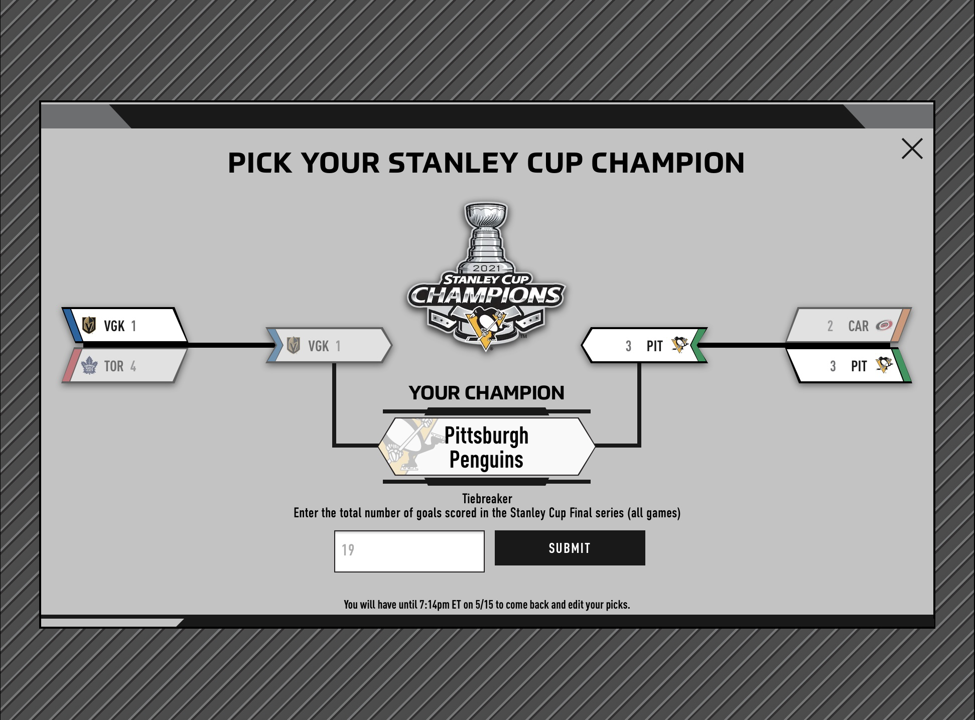 Stanley Cup final bracket showing the Penguins defeating the Golden Knights in the final.